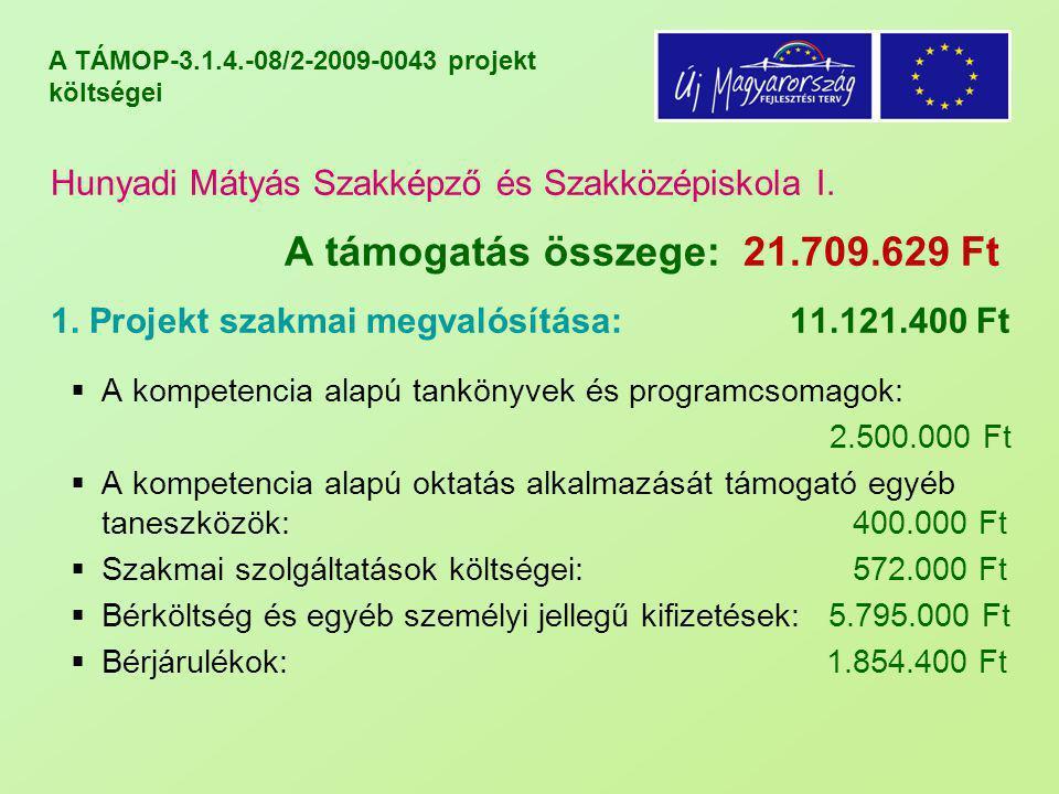 A TÁMOP-3.1.4.-08/2-2009-0043 projekt költségei Hunyadi Mátyás Szakképző és Szakközépiskola I. A támogatás összege: 21.709.629 Ft 1. Projekt szakmai m