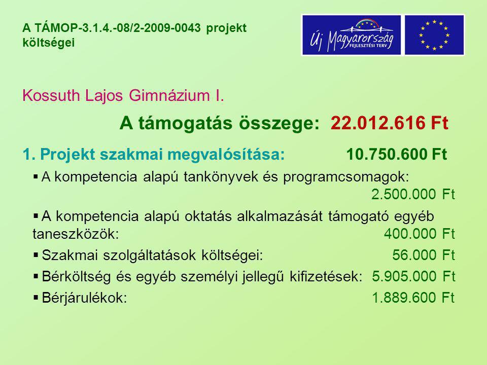 A TÁMOP-3.1.4.-08/2-2009-0043 projekt költségei Kossuth Lajos Gimnázium I. A támogatás összege: 22.012.616 Ft 1. Projekt szakmai megvalósítása: 10.750