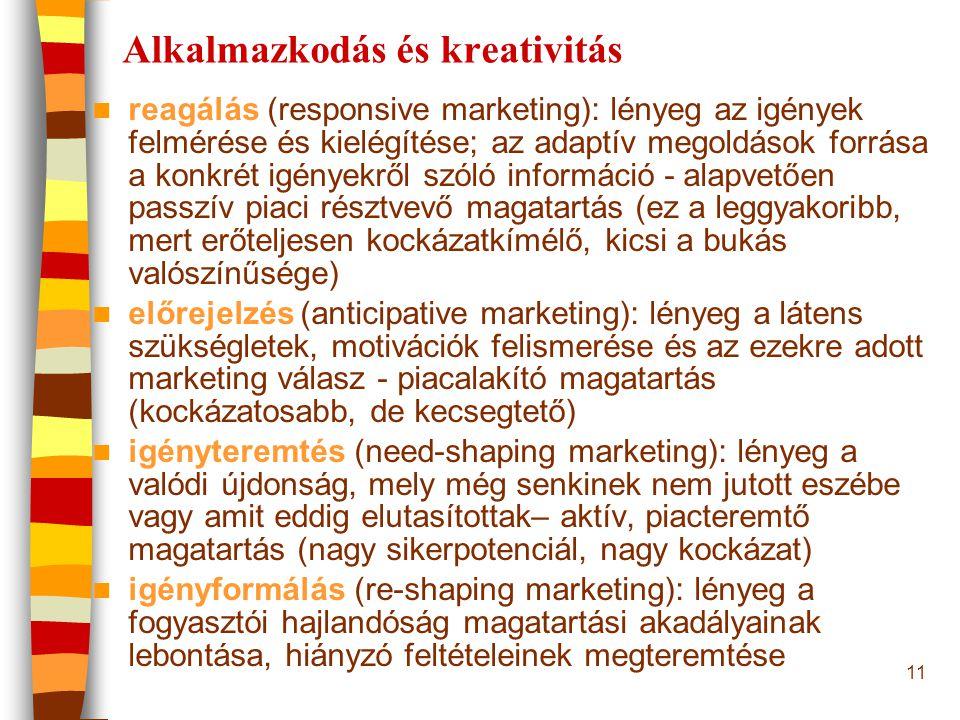 11 Alkalmazkodás és kreativitás reagálás (responsive marketing): lényeg az igények felmérése és kielégítése; az adaptív megoldások forrása a konkrét i