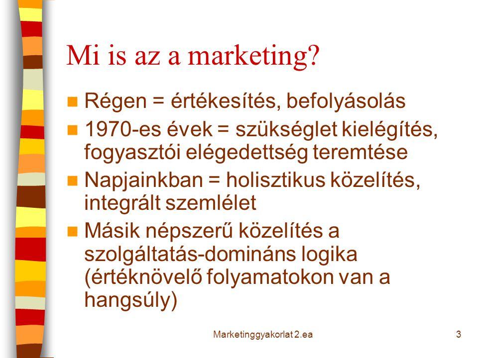 Mi is az a marketing? Régen = értékesítés, befolyásolás 1970-es évek = szükséglet kielégítés, fogyasztói elégedettség teremtése Napjainkban = holiszti