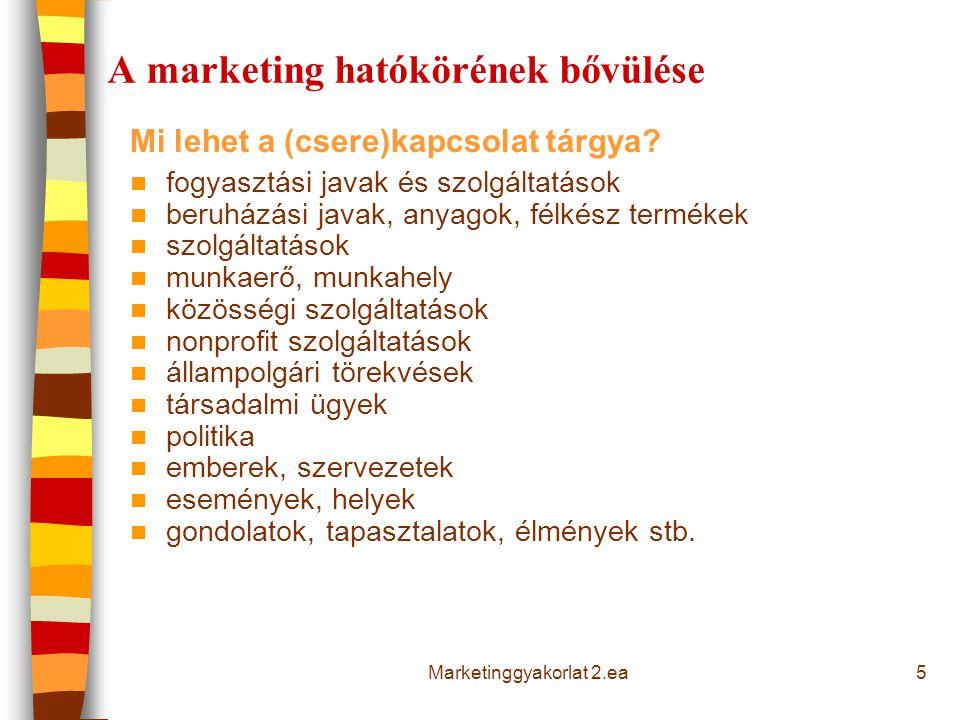 5 A marketing hatókörének bővülése Mi lehet a (csere)kapcsolat tárgya? fogyasztási javak és szolgáltatások beruházási javak, anyagok, félkész termékek