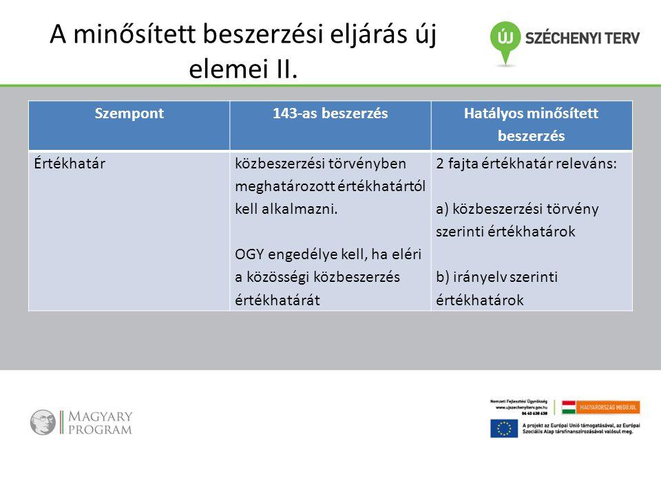 A minősített beszerzési eljárás új elemei II. összehasonlító táblázat Szempont143-as beszerzés Hatályos minősített beszerzés Értékhatárközbeszerzési t