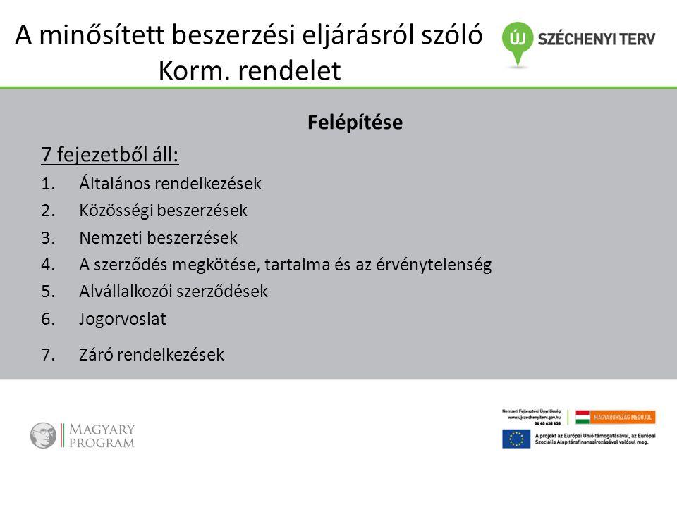 A minősített beszerzési eljárásról szóló Korm. rendelet Felépítése 7 fejezetből áll: 1.Általános rendelkezések 2.Közösségi beszerzések 3.Nemzeti besze