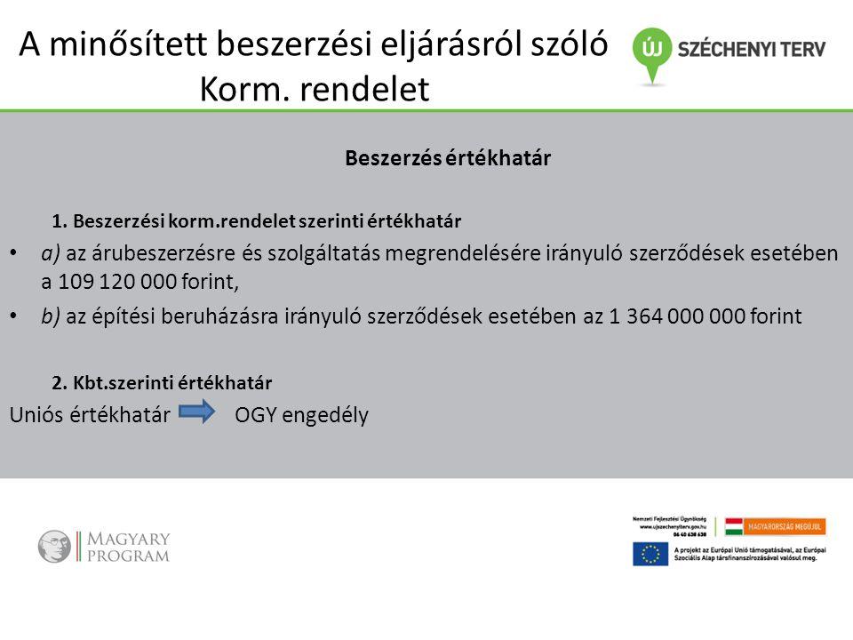 A minősített beszerzési eljárásról szóló Korm. rendelet Beszerzés értékhatár 1. Beszerzési korm.rendelet szerinti értékhatár a) az árubeszerzésre és s