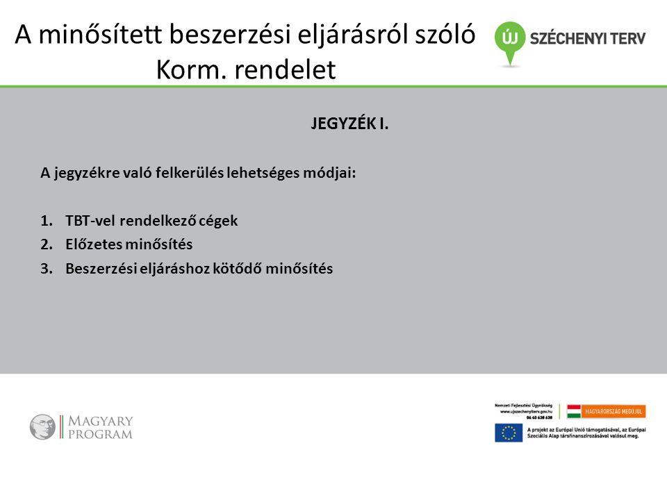 A minősített beszerzési eljárásról szóló Korm. rendelet JEGYZÉK I. A jegyzékre való felkerülés lehetséges módjai: 1.TBT-vel rendelkező cégek 2.Előzete