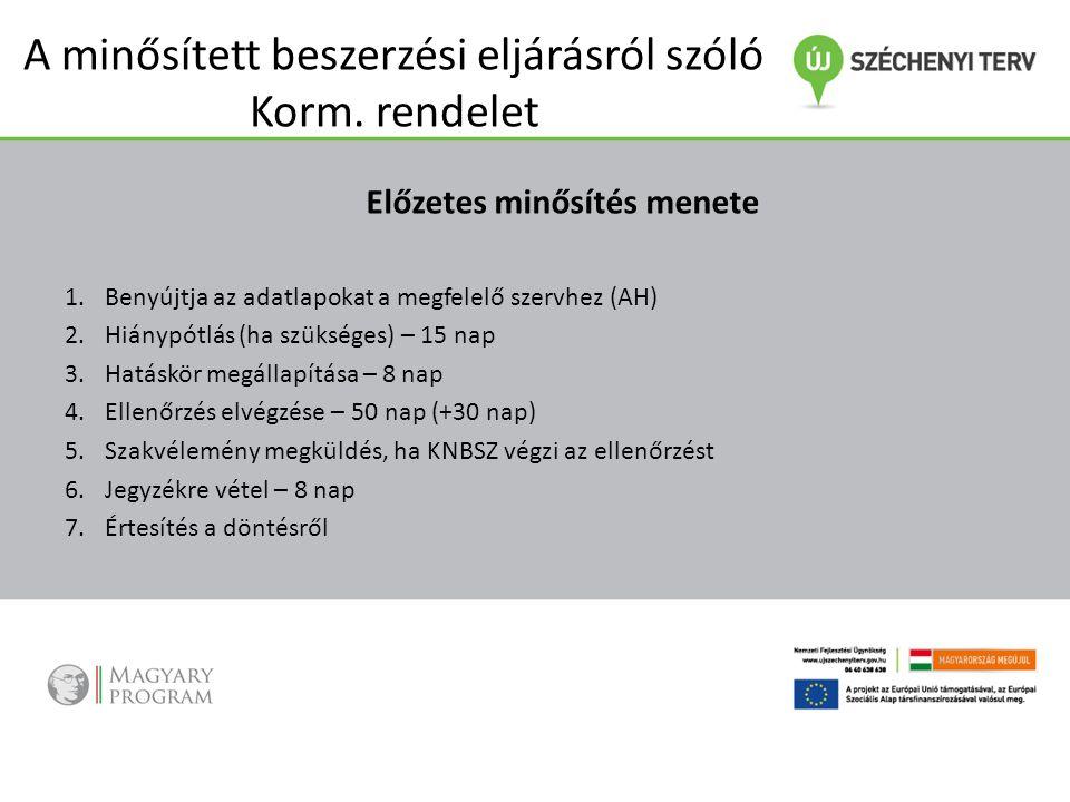 A minősített beszerzési eljárásról szóló Korm. rendelet Előzetes minősítés menete 1.Benyújtja az adatlapokat a megfelelő szervhez (AH) 2.Hiánypótlás (