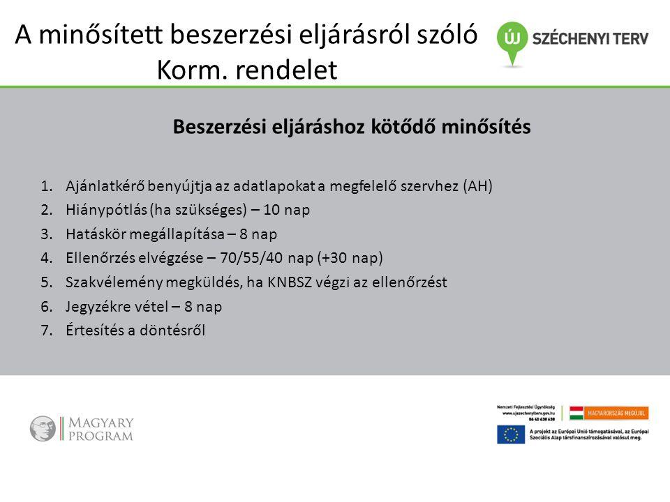 A minősített beszerzési eljárásról szóló Korm. rendelet Beszerzési eljáráshoz kötődő minősítés 1.Ajánlatkérő benyújtja az adatlapokat a megfelelő szer