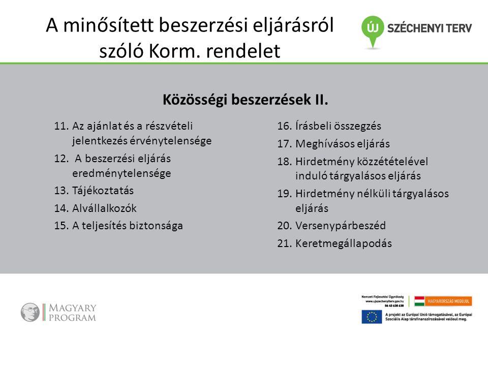 A minősített beszerzési eljárásról szóló Korm. rendelet Közösségi beszerzések II. 11.Az ajánlat és a részvételi jelentkezés érvénytelensége 12. A besz