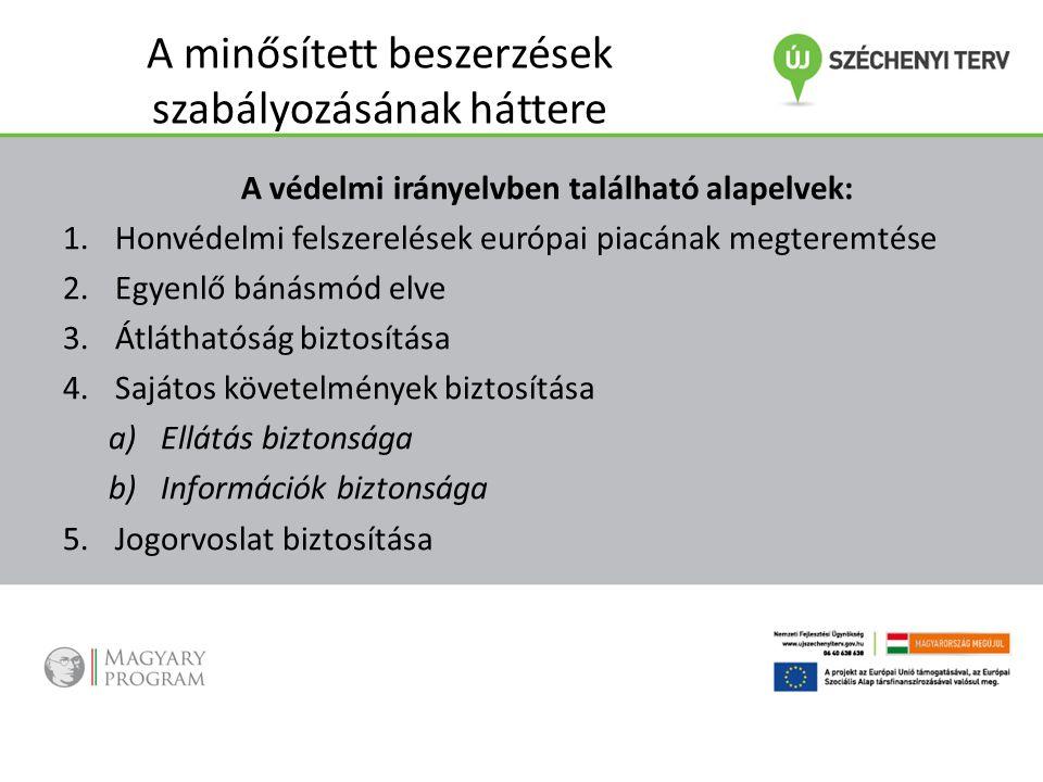 A minősített beszerzések szabályozásának háttere A védelmi irányelvben található alapelvek: 1.Honvédelmi felszerelések európai piacának megteremtése 2.Egyenlő bánásmód elve 3.Átláthatóság biztosítása 4.Sajátos követelmények biztosítása a)Ellátás biztonsága b)Információk biztonsága 5.Jogorvoslat biztosítása