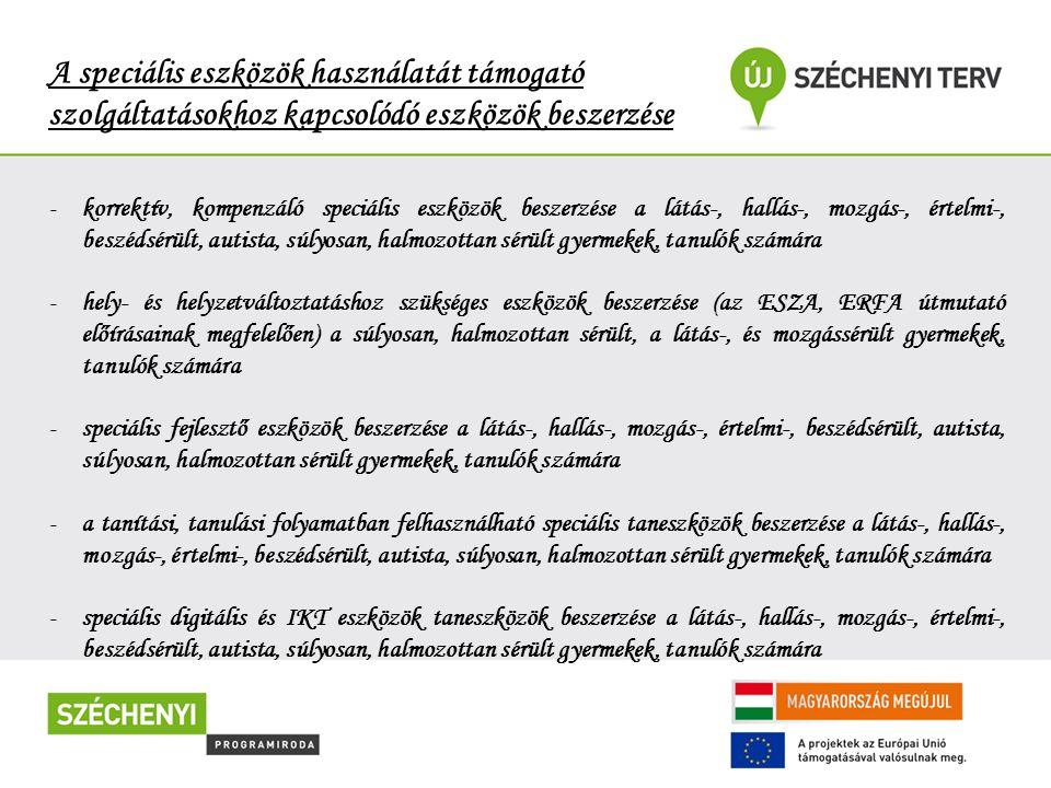 A Duráczky EGYMI és az együttműködő partnerek szolgáltatásai a pályázat megvalósulása esetén -Minden fogyatékossági területre kiterjedő érzékenyítő programok -Ingyenes képzéshez hozzáférés -Speciális eszközök bemutatása -Széles választékú eszközkölcsönző -Interneten elérhető információk a kölcsönözhető eszközökről -IKT eszközök és használatuk bemutatása