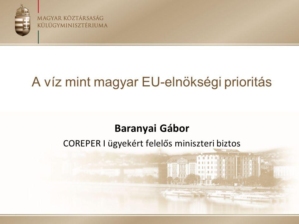 A magyar EU-elnökség általános célkitűzései a víz prioritáshoz kapcsolódóan Célok: További lendületet adni a víz témában folyó közösségi tárgyalásoknak, különös tekintettel a klímaváltozáshoz kapcsolódó szélsőséges vízügyi jelenségekre és a vízhiányra, az ökoszisztéma szolgáltatások szerepének hangsúlyozására, illetve a határokon átnyúló együttműködés erősítésére, mind az EU-n belül, mind nemzetközi szinten A fenti szempontoknak az EU szakpolitikáiba való beépítését támogató tanácsi következtetések elfogadása, az előző elnökségek munkájára is alapozva Hozzájárulás az Európai Bizottság által készítendő Blue-print for EU's water című vízpolitikai dokumentumhoz, valamint a 6.