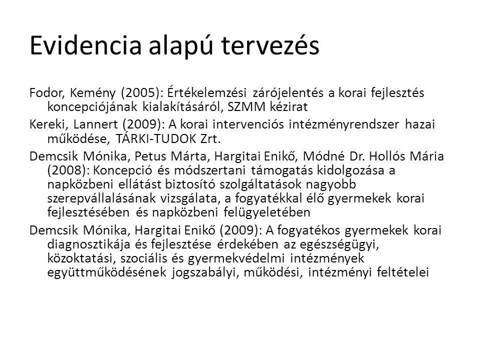 Evidencia alapú tervezés Fodor, Kemény (2005): Értékelemzési zárójelentés a korai fejlesztés koncepciójának kialakításáról, SZMM kézirat Kereki, Lanne
