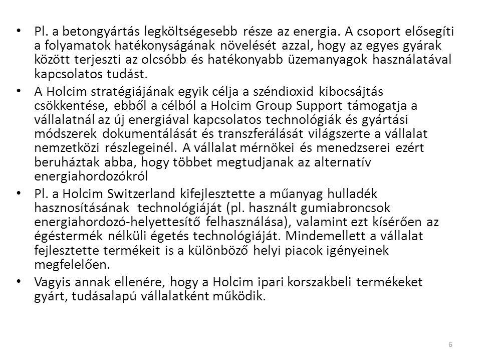 Pl.a betongyártás legköltségesebb része az energia.
