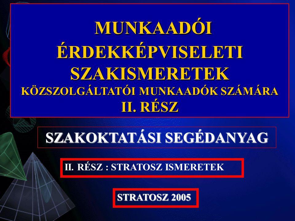 MUNKAADÓI MUNKAADÓI ÉRDEKKÉPVISELETI SZAKISMERETEK KÖZSZOLGÁLTATÓI MUNKAADÓK SZÁMÁRA II.