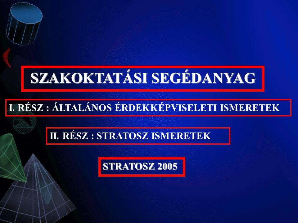 SZAKOKTATÁSI SEGÉDANYAG II. RÉSZ : STRATOSZ ISMERETEK STRATOSZ 2005 I.