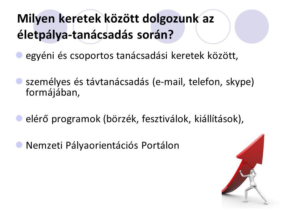 Nemzeti Pályaorientációs Portál www.eletpalya.munka.hu Kérdés: Milyen foglalkozások/munkakörök közül választhatok életem/karrierem során.