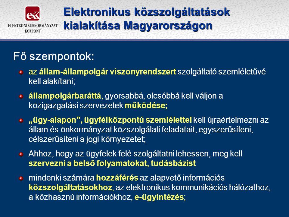 """Elektronikus közszolgáltatások kialakítása Magyarországon az állam-állampolgár viszonyrendszert szolgáltató szemléletűvé kell alakítani; állampolgárbaráttá, gyorsabbá, olcsóbbá kell váljon a közigazgatási szervezetek működése; """"ügy-alapon , ügyfélközpontú szemlélettel kell újraértelmezni az állam és önkormányzat közszolgálati feladatait, egyszerűsíteni, célszerűsíteni a jogi környezetet; Ahhoz, hogy az ügyfelek felé szolgáltatni lehessen, meg kell szervezni a belső folyamatokat, tudásbázist mindenki számára hozzáférés az alapvető információs közszolgáltatásokhoz, az elektronikus kommunikációs hálózathoz, a közhasznú információkhoz, e-ügyintézés; Fő szempontok:"""