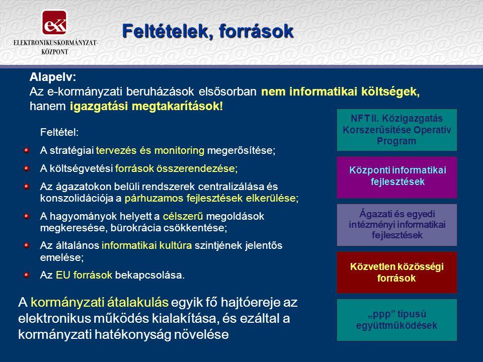 Feltételek, források Feltétel: A stratégiai tervezés és monitoring megerősítése; A költségvetési források összerendezése; Az ágazatokon belüli rendszerek centralizálása és konszolidációja a párhuzamos fejlesztések elkerülése; A hagyományok helyett a célszerű megoldások megkeresése, bürokrácia csökkentése; Az általános informatikai kultúra szintjének jelentős emelése; Az EU források bekapcsolása.