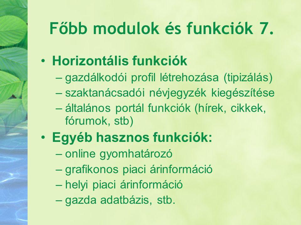 Főbb modulok és funkciók 7. Horizontális funkciók –gazdálkodói profil létrehozása (tipizálás) –szaktanácsadói névjegyzék kiegészítése –általános portá