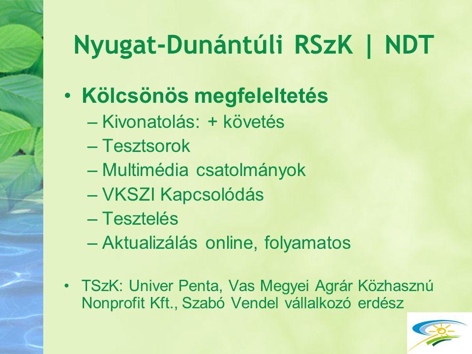Nyugat-Dunántúli RSzK | NDT Kölcsönös megfeleltetés –Kivonatolás: + követés –Tesztsorok –Multimédia csatolmányok –VKSZI Kapcsolódás –Tesztelés –Aktual