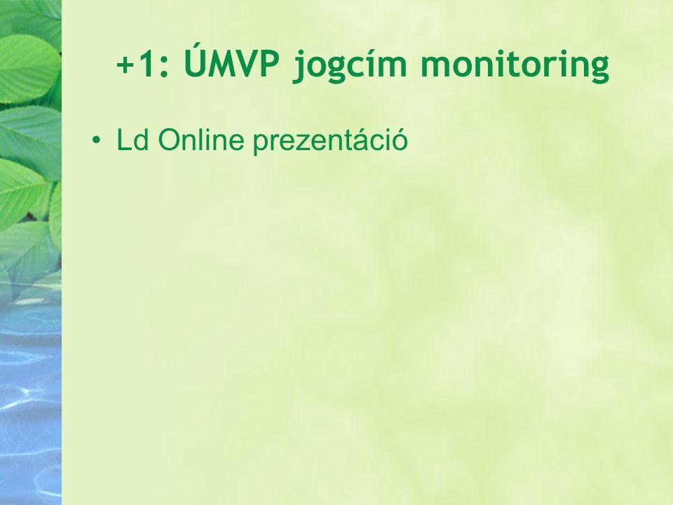 +1: ÚMVP jogcím monitoring Ld Online prezentáció