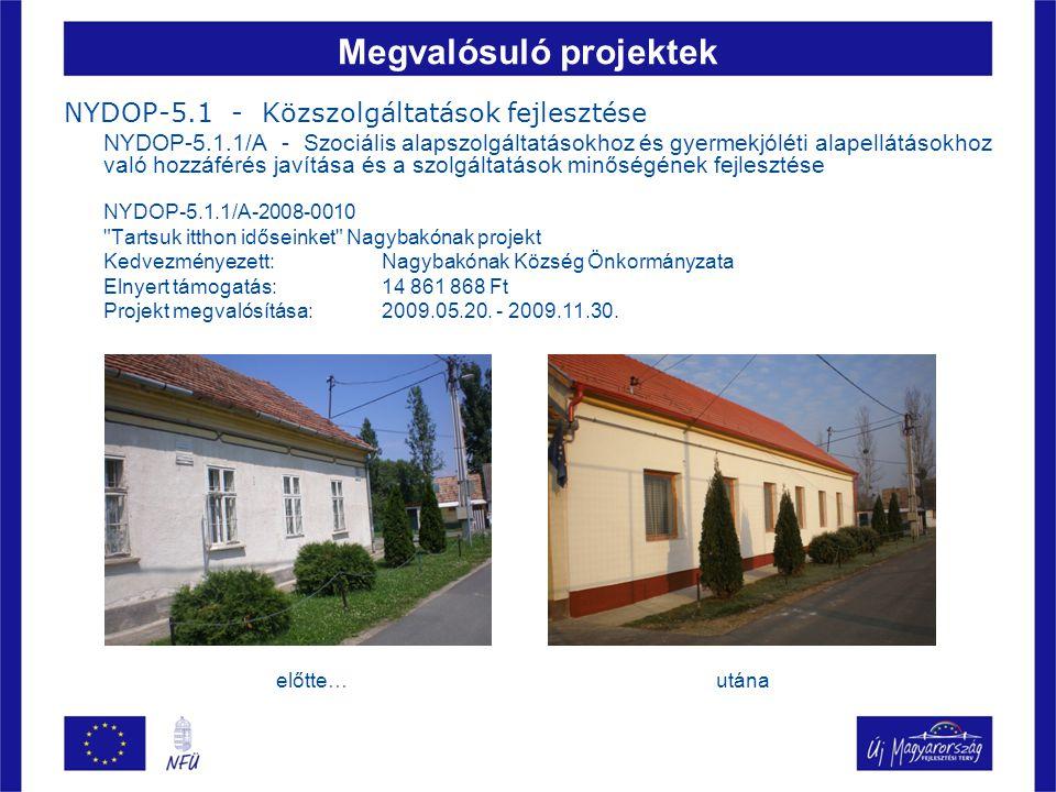Megvalósuló projektek NYDOP-5.1 - Közszolgáltatások fejlesztése NYDOP-5.1.1/E - Önkormányzati felelősségi körbe tartozó intézmények utólagos akadálymentesítése (Egyenlő esélyű hozzáférés a közszolgáltatásokhoz) NYDOP-5.1.1/E-2007-0006 Szentliszló községben a Polgármesteri Hivatal és orvosi rendelő akadálymentesítése Kedvezményezett: Szentliszló Község Önkormányzata Elnyert támogatás: 8 050 825 Ft Projekt megvalósítása:2008.06.30.