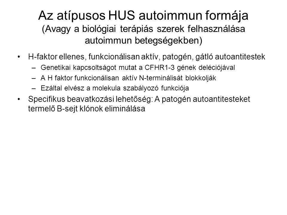 Az atípusos HUS autoimmun formája (Avagy a biológiai terápiás szerek felhasználása autoimmun betegségekben) H-faktor ellenes, funkcionálisan aktív, pa