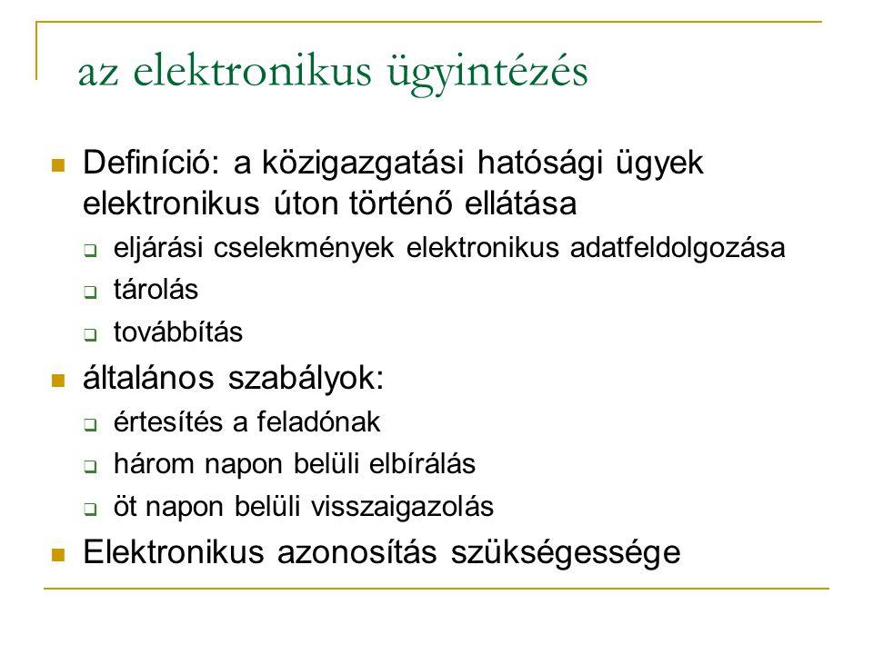 az elektronikus ügyintézés Definíció: a közigazgatási hatósági ügyek elektronikus úton történő ellátása  eljárási cselekmények elektronikus adatfeldo