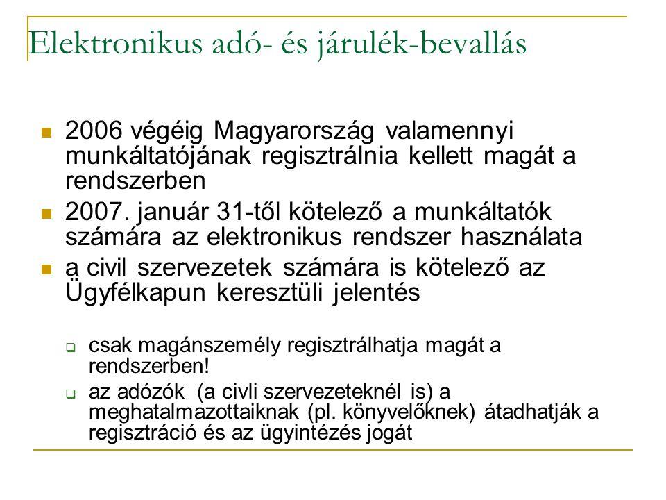Elektronikus adó- és járulék-bevallás 2006 végéig Magyarország valamennyi munkáltatójának regisztrálnia kellett magát a rendszerben 2007. január 31-tő