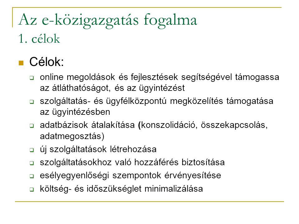 Az e-közigazgatás fogalma 1. célok Célok:  online megoldások és fejlesztések segítségével támogassa az átláthatóságot, és az ügyintézést  szolgáltat