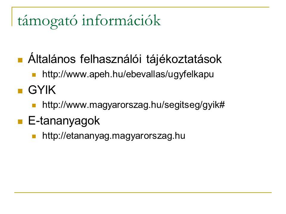 támogató információk Általános felhasználói tájékoztatások http://www.apeh.hu/ebevallas/ugyfelkapu GYIK http://www.magyarorszag.hu/segitseg/gyik# E-ta