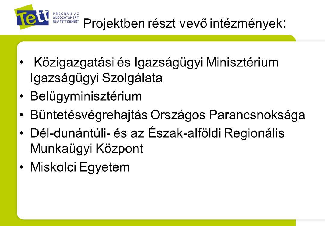 Projektben részt vevő intézmények : Közigazgatási és Igazságügyi Minisztérium Igazságügyi Szolgálata Belügyminisztérium Büntetésvégrehajtás Országos P