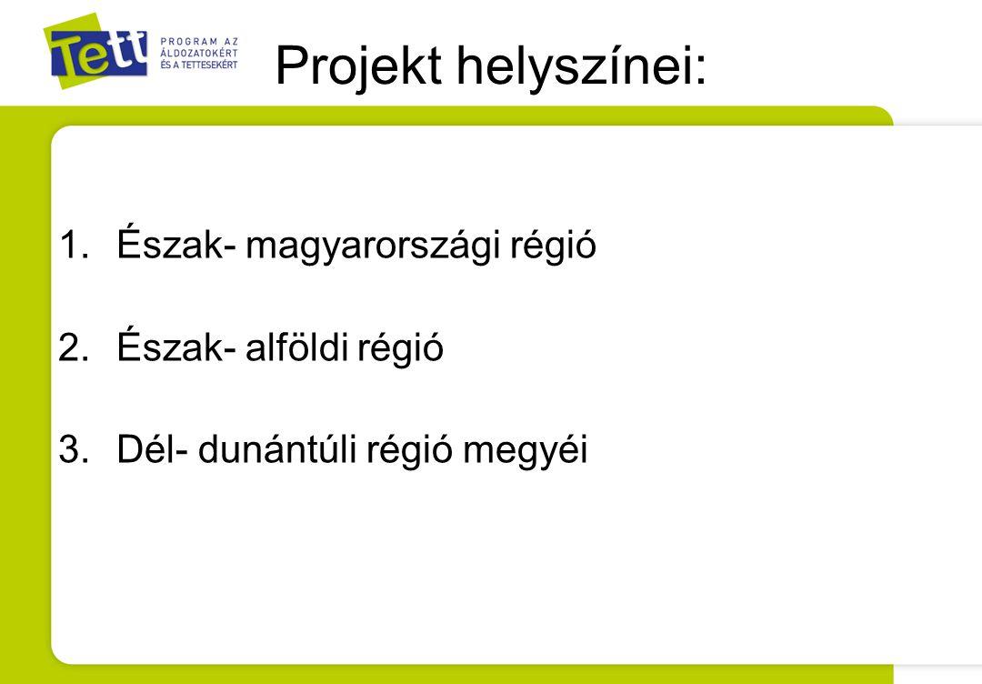 Projekt helyszínei: 1.Észak- magyarországi régió 2.Észak- alföldi régió 3.Dél- dunántúli régió megyéi