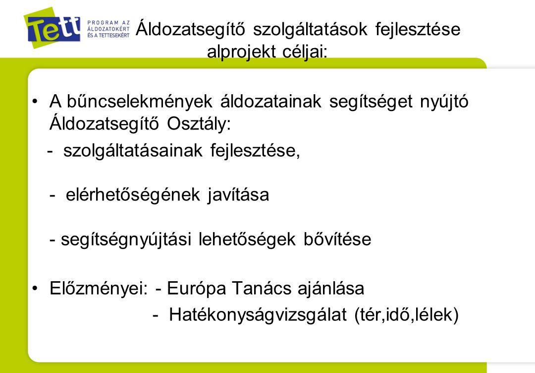 Áldozatsegítő szolgáltatások fejlesztése alprojekt céljai: A bűncselekmények áldozatainak segítséget nyújtó Áldozatsegítő Osztály: - szolgáltatásainak fejlesztése, - elérhetőségének javítása - segítségnyújtási lehetőségek bővítése Előzményei: - Európa Tanács ajánlása - Hatékonyságvizsgálat (tér,idő,lélek)