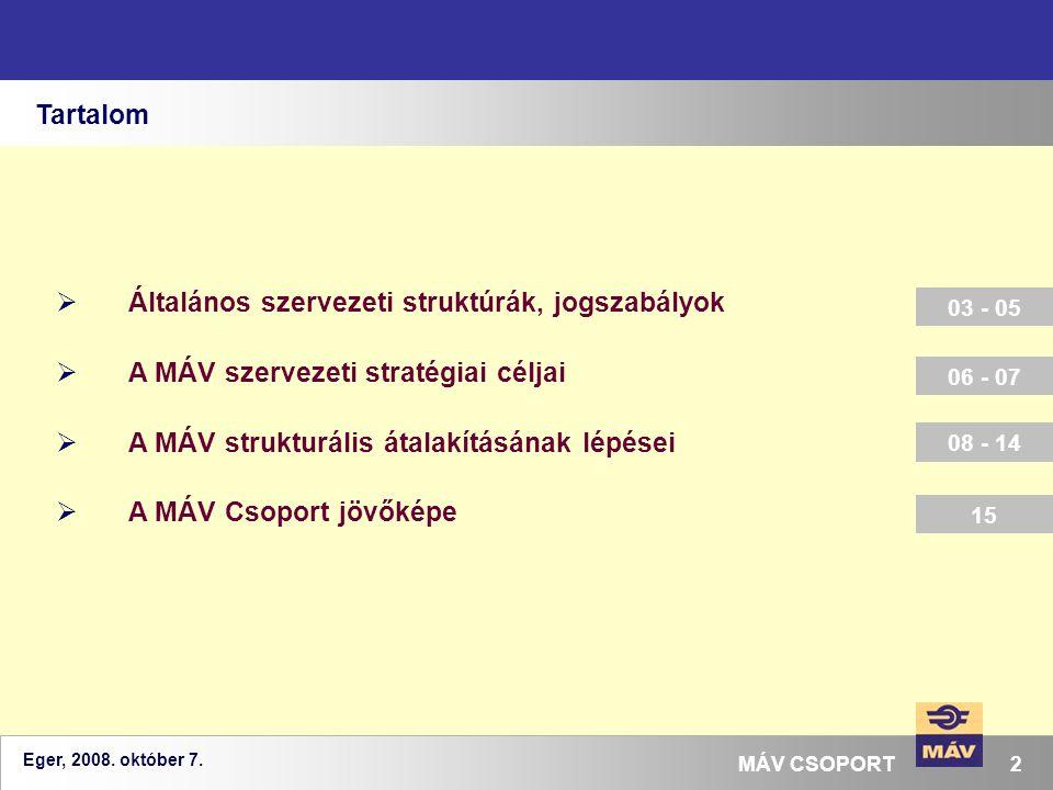 Eger, 2008. október 7. 2MÁV CSOPORT Tartalom  Általános szervezeti struktúrák, jogszabályok  A MÁV szervezeti stratégiai céljai  A MÁV strukturális