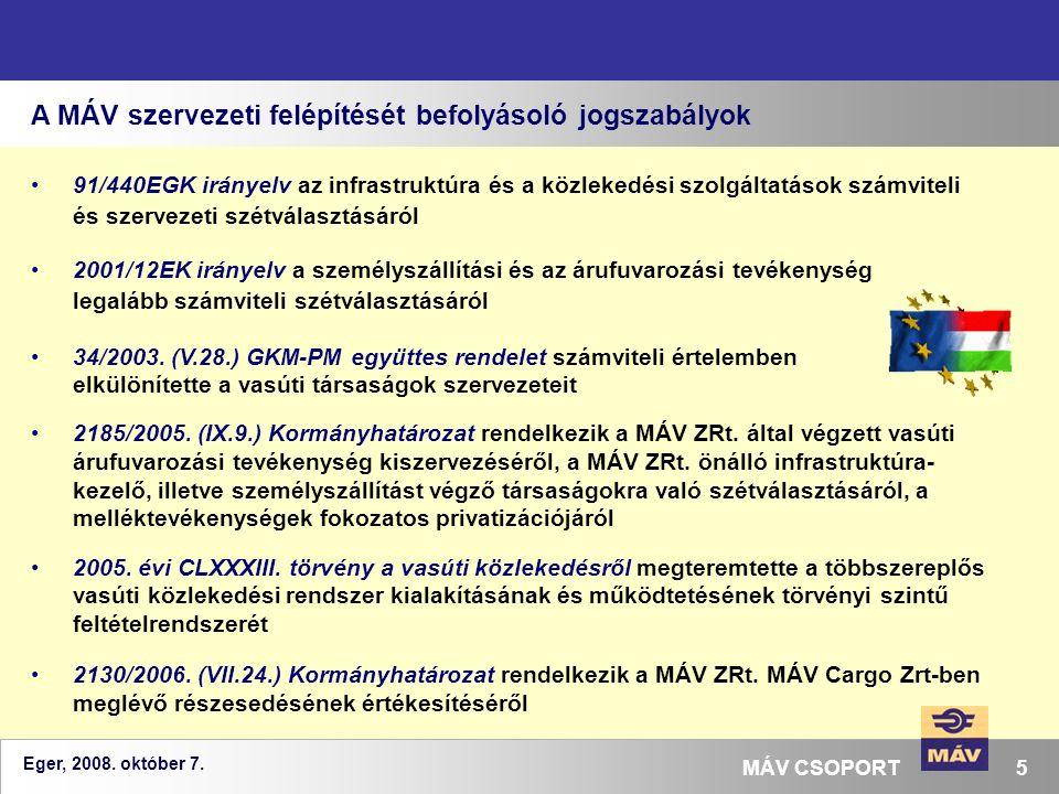 Eger, 2008. október 7. 5MÁV CSOPORT A MÁV szervezeti felépítését befolyásoló jogszabályok 91/440EGK irányelv az infrastruktúra és a közlekedési szolgá