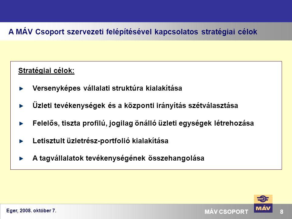 Eger, 2008. október 7. 8MÁV CSOPORT A MÁV Csoport szervezeti felépítésével kapcsolatos stratégiai célok Stratégiai célok: Versenyképes vállalati struk