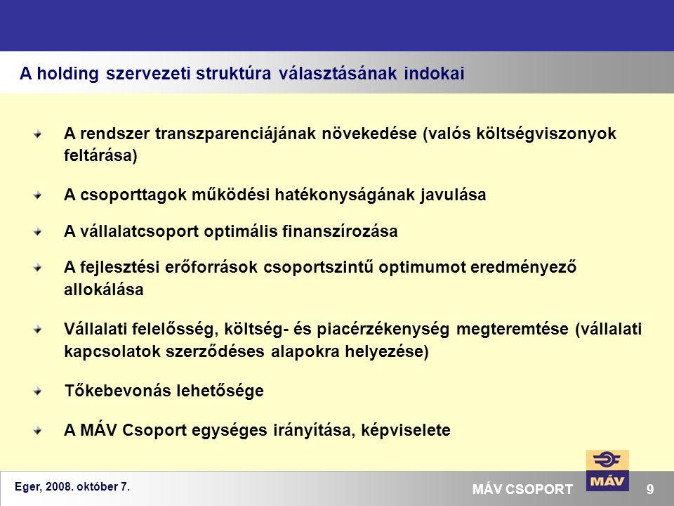 Eger, 2008. október 7. 9MÁV CSOPORT A holding szervezeti struktúra választásának indokai A rendszer transzparenciájának növekedése (valós költségviszo