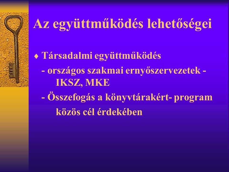 Az együttműködés lehetőségei  Társadalmi együttműködés - országos szakmai ernyőszervezetek - IKSZ, MKE - Összefogás a könyvtárakért- program közös cé