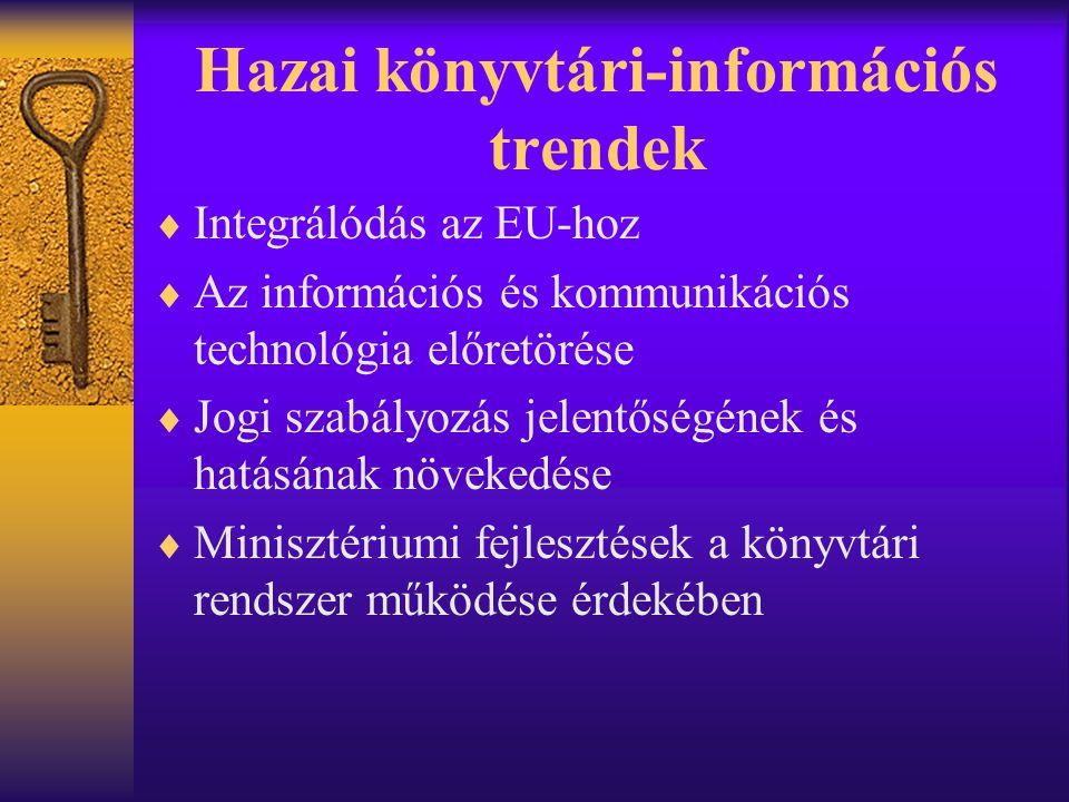 Hazai könyvtári-információs trendek  Integrálódás az EU-hoz  Az információs és kommunikációs technológia előretörése  Jogi szabályozás jelentőségén