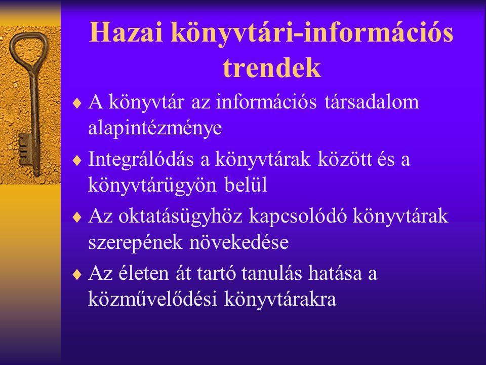 Hazai könyvtári-információs trendek  A könyvtár az információs társadalom alapintézménye  Integrálódás a könyvtárak között és a könyvtárügyön belül