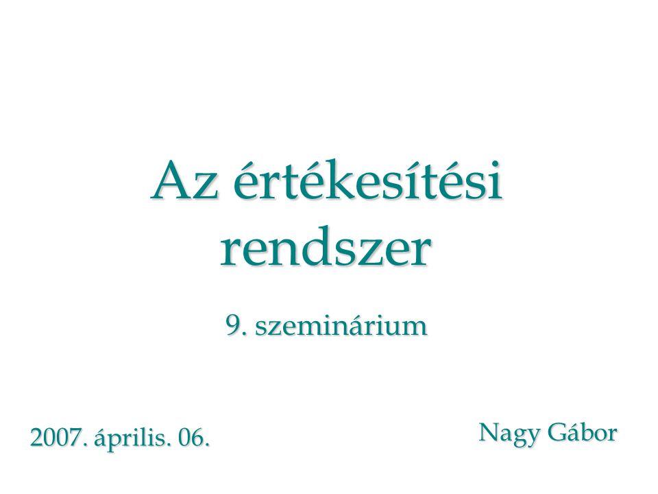 Az értékesítési rendszer 9. szeminárium Nagy Gábor 2007. április. 06.