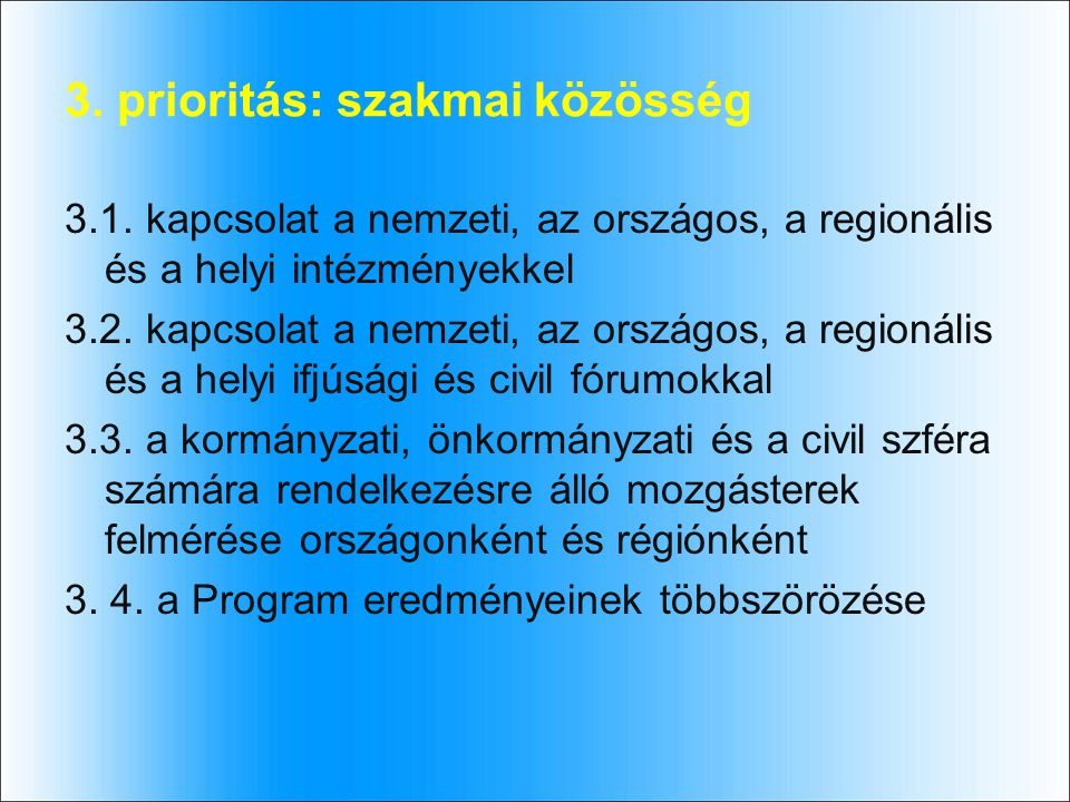 3. prioritás: szakmai közösség 3.1.
