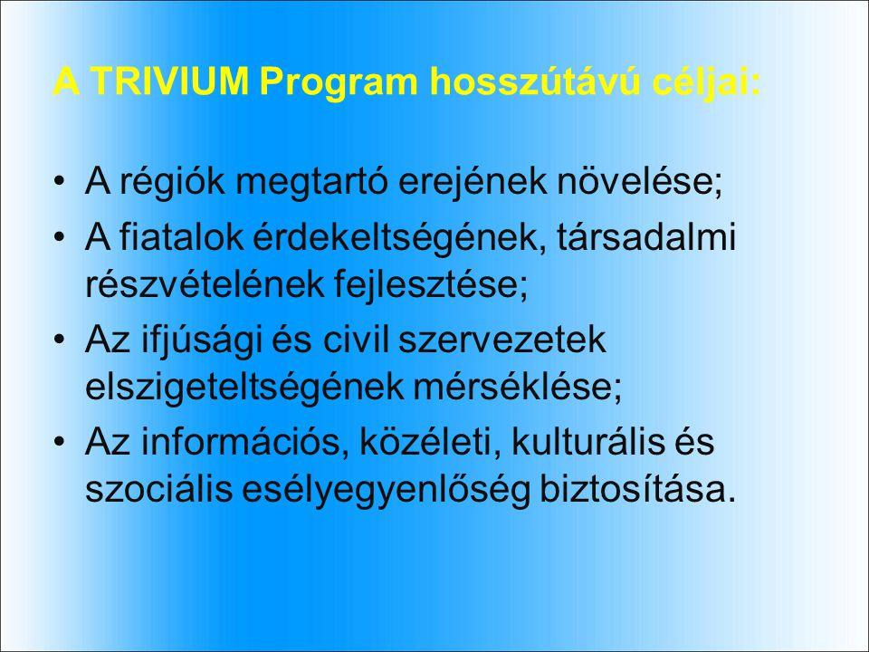 A TRIVIUM Program hosszútávú céljai: A régiók megtartó erejének növelése; A fiatalok érdekeltségének, társadalmi részvételének fejlesztése; Az ifjúsági és civil szervezetek elszigeteltségének mérséklése; Az információs, közéleti, kulturális és szociális esélyegyenlőség biztosítása.