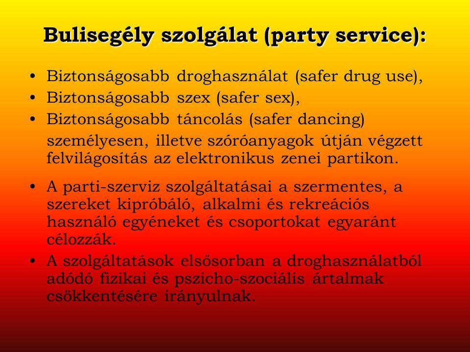 Bulisegély szolgálat (party service): Biztonságosabb droghasználat (safer drug use), Biztonságosabb szex (safer sex), Biztonságosabb táncolás (safer d