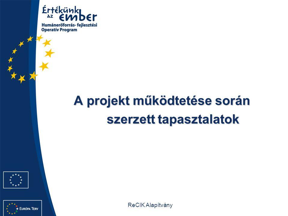 ReCIK Alapítvány A projekt működtetése során A projekt működtetése során szerzett tapasztalatok szerzett tapasztalatok