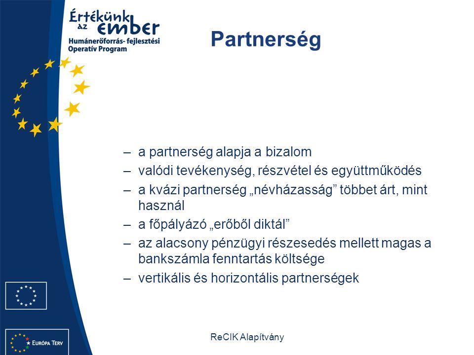 """ReCIK Alapítvány Partnerség –a partnerség alapja a bizalom –valódi tevékenység, részvétel és együttműködés –a kvázi partnerség """"névházasság többet árt, mint használ –a főpályázó """"erőből diktál –az alacsony pénzügyi részesedés mellett magas a bankszámla fenntartás költsége –vertikális és horizontális partnerségek"""