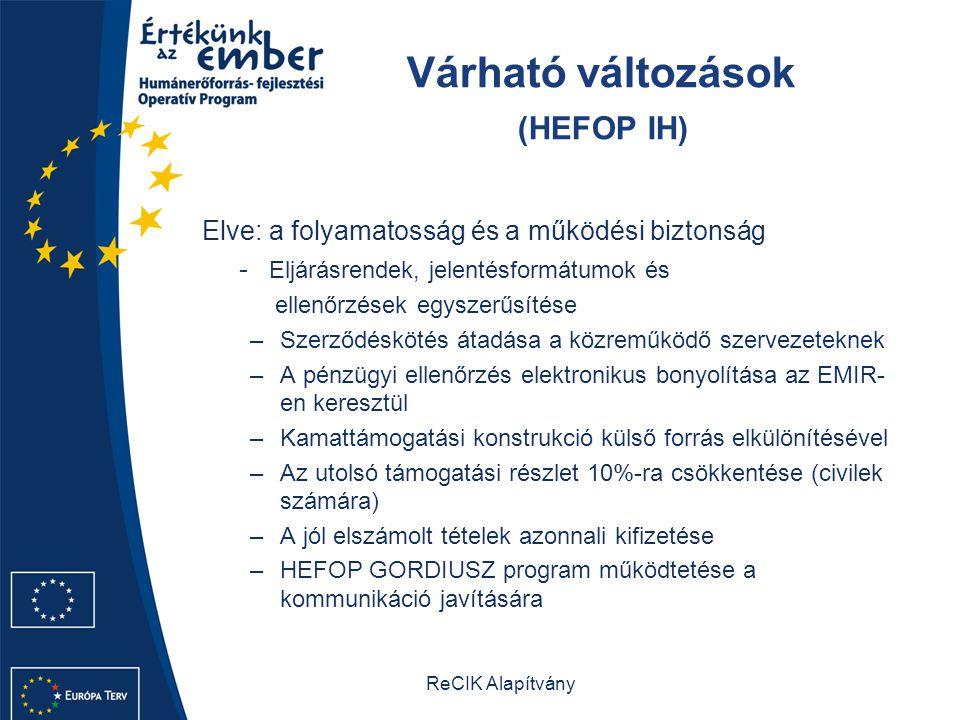 ReCIK Alapítvány Várható változások (HEFOP IH) Elve: a folyamatosság és a működési biztonság - Eljárásrendek, jelentésformátumok és ellenőrzések egyszerűsítése –Szerződéskötés átadása a közreműködő szervezeteknek –A pénzügyi ellenőrzés elektronikus bonyolítása az EMIR- en keresztül –Kamattámogatási konstrukció külső forrás elkülönítésével –Az utolsó támogatási részlet 10%-ra csökkentése (civilek számára) –A jól elszámolt tételek azonnali kifizetése –HEFOP GORDIUSZ program működtetése a kommunikáció javítására