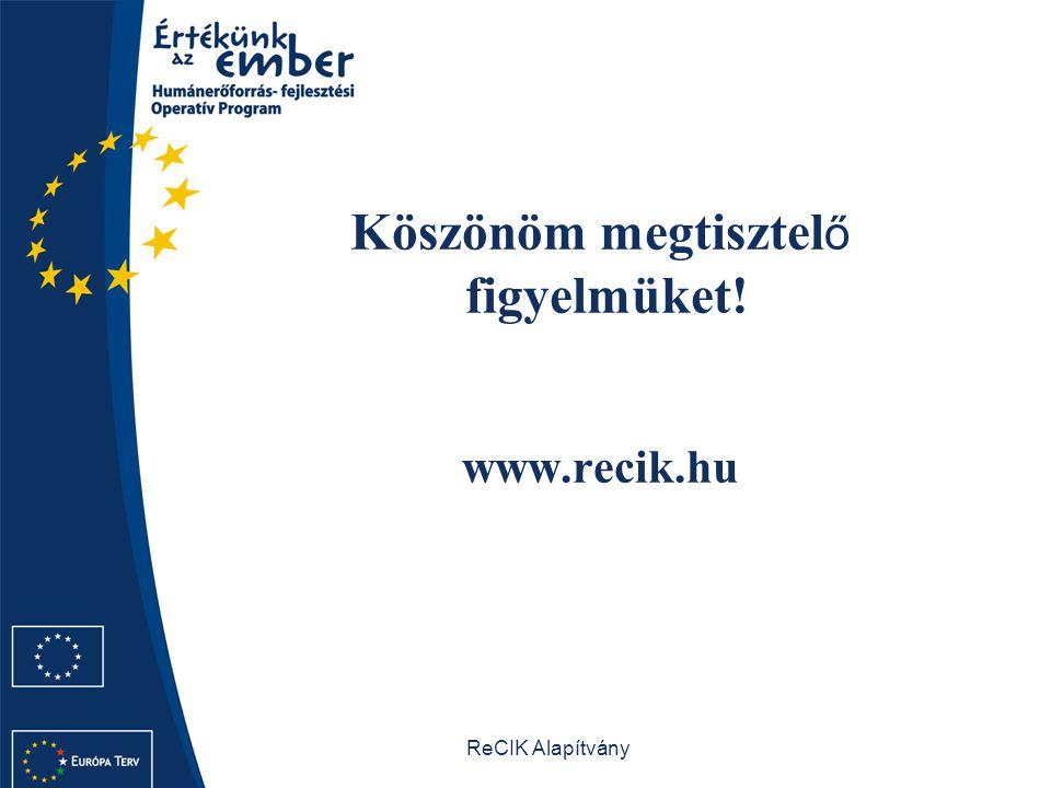 ReCIK Alapítvány Köszönöm megtisztel ő figyelmüket! www.recik.hu
