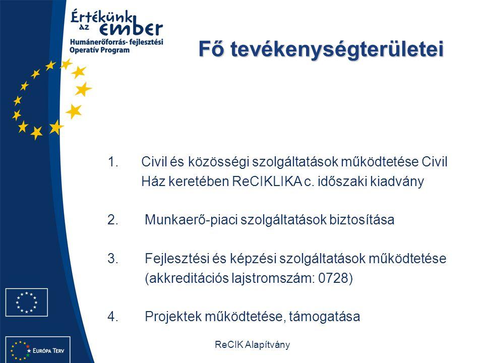 ReCIK Alapítvány Fő tevékenységterületei Fő tevékenységterületei 1.